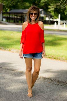 Red Top + Denim Shorts