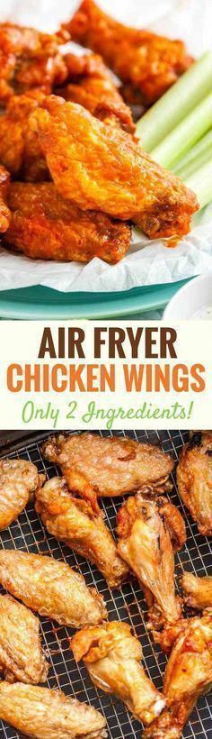 Easy Air Fryer Chicken Wings are so crispy and delicious without using any extra oil! Cooking Chicken Wings in an Air Fryer instead of deep-frying or baking them in the oven makes them healthier, simpler and clean up easier. They're ready in only 30 minut Air Fry Chicken Wings, Chicken Wing Sauces, Cooking Chicken Wings, Chicken Wing Recipes, Crispy Chicken, Chicken Ideas, Grilled Chicken, Air Fryer Oven Recipes, Air Frier Recipes