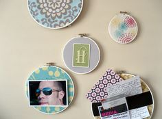 """embroidery hoop pinboard inspiration """"amy butler"""""""