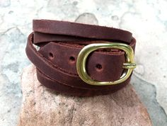 Leather Wrap Cuff, Boulder Leather Cuff, Brown Leather Bracelet, Adjustable Leather Bracelet, Boulder, Handcrafted. Etsy store: AmbosDesigns