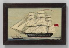 Early Naive Sailor Wool Work Ship Picture