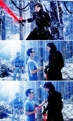 The Force Awakens, behind the scenes: Adam Driver taking direction from J.J. Abrams on Kylo Ren's snow duel.