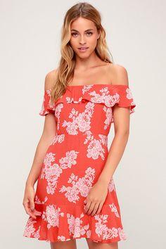 03052ef187f6 Sweetest Retreat Coral Pink Floral Print Off-the-Shoulder Dress Vacation  Dresses