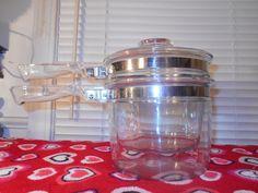 Vintage Pyrex Flameware Glass Double Boiler #6283 1 1/2 Quart Pot Pan + Lid EUC #PyrexFlameware