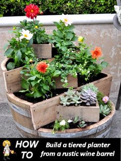 DIY Rustic Planter Made from an Old Wine Barrel - http://thegardeningcook.com/diy-rustic-planter/