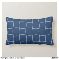 Navy grid pattern lumbar pillow Navy Blue Bedrooms, Blue Living Room Decor, Blue Home Decor, Navy Blue Cushions, Navy Blue Throw Pillows, Personalized Pillows, Custom Pillows, Living Room Cushions, Lumbar Pillow