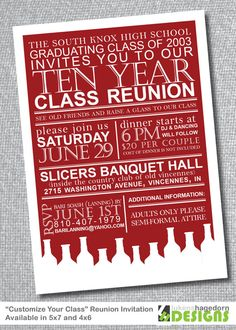 Items similar to Class Reunion Invitation - Custom School Colors on Etsy Class Reunion Invitations, Funny Birthday Invitations, Princess Invitations, Invites, Invitation Flyer, Invitation Examples, Printable Invitation Templates, Invitation Wording, Business Invitation