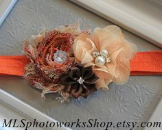 Rich Shades of Autumn Baby Girl Headband - Fall Colors Flower Hair Bow for Babies, Toddlers, & Little Girls - Orange, Tan, Brown Headband on Etsy, $7.00
