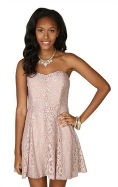 Deb Shops strapless metallic lace with skater skirt  $42.90
