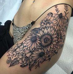 Sunflower Hip Tattoo by Emily Elinski