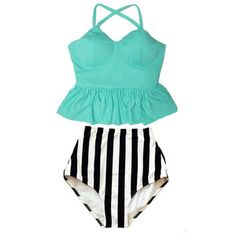 92aa87f1bde7f MInt Green Long Peplum Straps Top and Stripe High Waist Waisted Swimsuit  Swimsuits Swimwears Bikini Bikinis set Bathing Swim suit S M L XL by  venderstore on ...