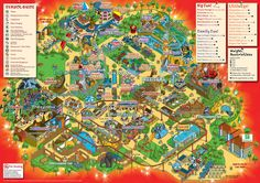 2009 Chessington World of Adventures theme park map illustration by Rod Hunt - isometric pixel art map