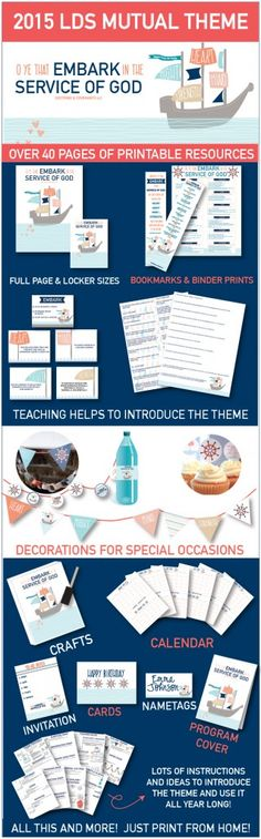 """2015 LDS Mutual Theme.  """"O Ye that Embark in the Service of God""""!  This print-from-home package has over 40 pages of stuff to use all year long!  Teaching helps, prints, decorations, invitations, conducting sheets, birthday cards, stickers, bookmarks, calendars, and more!"""