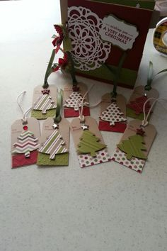 Paper bag scrapbook and gift tags for silent auction basket. Christmas Tag, Christmas Crafts, Christmas Ornaments, Xmas Cards, Gift Cards, Paper Bag Scrapbook, Auction Baskets, Raffle Baskets, Basket Gift
