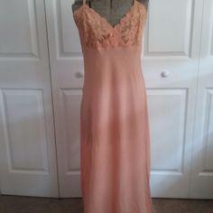 Victoria's Secret Peach Chiffon  Lace Bodice Long Side Slit  Nightgown Size XL #VictoriasSecret