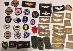 NICE LOT OF US WW2 SHOULDER PATCHES INSIGNIA AIR FORCE WING PATCHES WINGS RANK  | eBay