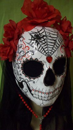 SALE Red Rose Princess Day of the Dead Mask dia de los muertos Halloween Costume zombies Free Rosary.