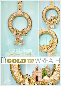 Check out how to make this GOLD Christmas Wreath in just minutes! the36thavenue.com #wreath #christmas #diy