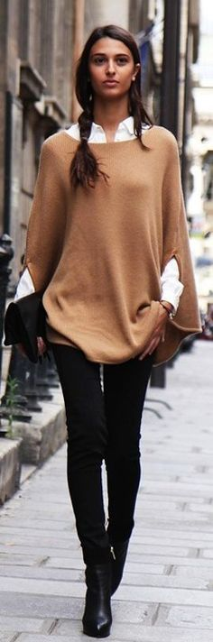 So chic. Love it. Camel Sweater Cape by District Of Chic. #casual wear. #winter. via #thedailystyle.