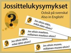 Jossittelukysymykset suomeksi, ruotsiksi ja englanniksi | RyhmäRenki School Classroom, School Fun, Pre School, Back To School, Early Education, Teaching English, Social Skills, Speech Therapy, Kindergarten