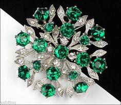 Vintage Bogoff Floral Emerald Green Rhinestone Flower Brooch Pin Jewelry 1950'S | eBay