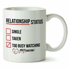 Greys Anatomy Mug Funny Relationship Status ** Final call for this special discount : Free Home and Kitchen Greys Anatomy Mug, Greys Anatomy Funny, Grey's Anatomy, Funny Relationship Status, My Best Friend Quotes, Grey Quotes, Thrifting, 13 Reasons, Mugs
