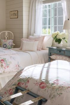 Blending the breezy ethos of Southern California with the homespun charm of the English Cotswolds, Taylor Linens reflects the founder's own aesthetic, shaped by childhood experiences and trips abroad. Cottage Chic, Cottage Living, Romantic Cottage, Cottage Style, French Cottage, Living Room, Home Bedroom, Girls Bedroom, Master Bedroom
