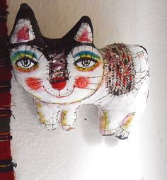 Original art doll White kitty folk art with stitches por miliaart