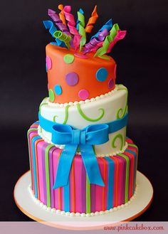 Topsy Turvy Cake in Neon Pink, Purple, Blue, Green and Orange Dots & Stripes and Off-White with Lime Green Swirls