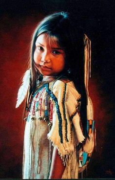 Karen Noles paintings of Native American Indian children and young women. Native Child, Native American Children, Native American Wisdom, Native American Pictures, Native American Artwork, Native American Beauty, American Indian Art, Native American History, American Indians