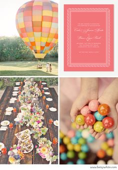 These would be awesome nursery colors for next time if we have another girl   Wedding Inspiration: Up, Up and Away | Flights of Fancy