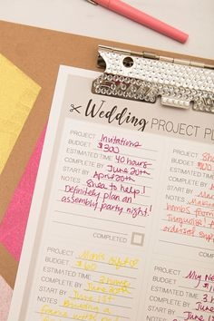 Print Out This DIY Wedding Project Planner Sheet For FREE