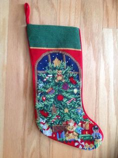 Neddlepoint Tree With Gifts Christmas Stocking Christmas Stockings, Christmas Gifts, Holiday Decor, Ebay, Needlepoint Christmas Stockings, Xmas Gifts, Christmas Presents, Christmas Leggings