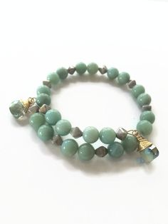Amazonite Wire Wrap Bracelet Green Gemstone Beaded Stacking Bracelet Beaded Bracelet Amazonite Gemstone and Spikes Wrap Bracelet (MBX196) by JulemiJewelry on Etsy
