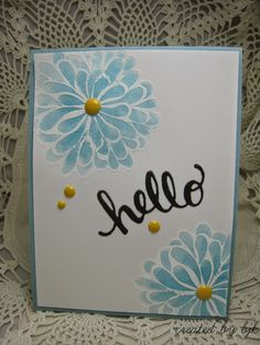 handmade greeting card ... white embossed dahlias ... watercolor fill ... blue, yellow, white ... scattering of enamel dots ... simple and sweet ...