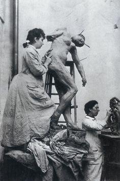 Camille Claudel in Rodin's studio
