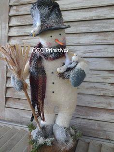 Primitive Christmas Winter Wonderland Snowman by CCCPrimitives