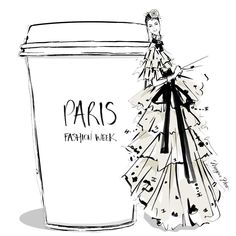 Megan Hess - Today's coffee comes with a side of French Tulle! PFW michaela.vasinova