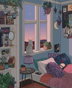 everything i want once i get a job. Bed by the window overlooking the never-ending skies.  A cat A shelve with decorative items and books Homey feels in a nutshell