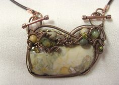Willow Creek Jasper - Antiqued Copper Wire Wrapped Pendant  By:  Jennifer Ware of Ware-able Art
