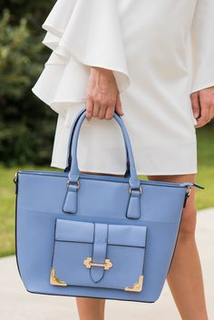 """""""Classy Effect Purse, Powder Blue""""This little purse will have such a classy effect on your outfit! It's color is so pretty and the detailing so classic. #newarrivals #shopthemint"""