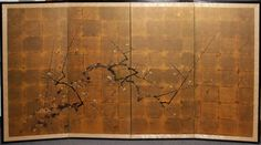 japanese four-panel rice-paper wall screen
