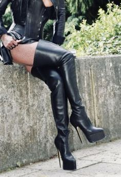 Black Patent Thigh Boot with Platform Sole and 6 inch Stiletto Heel. Suitable for men or women. Thigh high boots with stiletto heels from Pleaser Shoes. High Top Boots, Thigh High Boots Heels, High Leather Boots, Hot High Heels, Platform High Heels, Heeled Boots, Ladies Leather Boots, Latex Boots, Crotch Boots