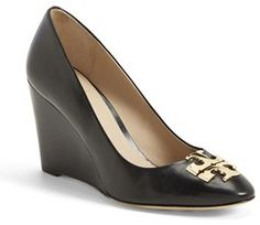 $295, Black Leather Wedge Pumps: Raleigh Leather Wedge Pump by Tory Burch. Sold by Nordstrom. Click for more info: http://lookastic.com/women/shop_items/202780/redirect Black High Heel Pumps, Gold Pumps, Women's Pumps, Pump Shoes, Wedge Shoes, Wedge Sandals, Brown Leather Wedges, Black Leather, Cinderella Shoes
