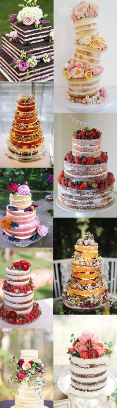 Yes, we'll talk about naked wedding cakes today. Many brides love their wedding cakes with a sweet frost while the others prefer naked ones, simple but more. Trendy Wedding, Rustic Wedding, Dream Wedding, Wedding Vintage, Floral Wedding, Wedding Reception, Beautiful Cakes, Amazing Cakes, Bolo Nacked