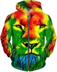 Jamaican Rainbow Rasta Lion Trippy Tie-Dye Art by Willy Badu.
