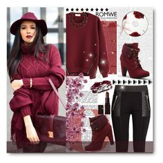 """●♥Zipper Red Sweatshirt♥●"" by tinaisapenguin ❤ liked on Polyvore featuring Laura Mercier, Delfina, H&M, DIANA BROUSSARD and Gillian Julius"