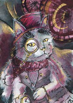 ACEO TW NOV Original Art Fantasy Steampunk Cat Animal Character - SMcNeill #Miniature
