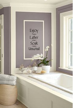 purple wall color Home Bathroom wall decor, Bathroom spa pictures for bathroom wall decor - Bathroom Decoration Bathroom Decals, Wall Decals For Bedroom, Wall Decor Stickers, Bathroom Spa, Bathroom Wall Decor, Bathroom Colors, Master Bathroom, Bedroom Decor, Warm Bathroom