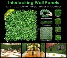 "Outdoor Artificial Boxwood Mat Foliage 12"" x 12"" Plastic Panels"